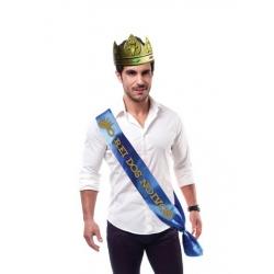 """Faixa """"O Rei dos Noivos"""" com Coroa"""
